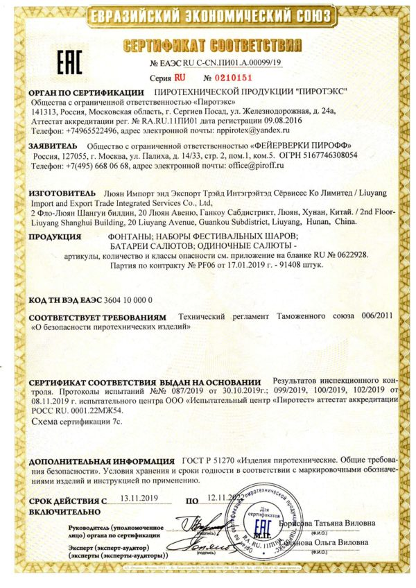 Сертификат соответствия фейерверк Фартуна